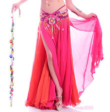 NEW Belly Dance Costume skirt 2 layers with 2 side slits Skirt 10 colors