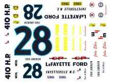 #28 Fred Lorenzen Lafayette Ford 1965 1/25th - 1/24th Scale Waterslide Decals