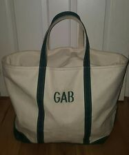 LL Bean Boat and Tote Large XL Green White Bag GAB zippered Gabby Gabrielle