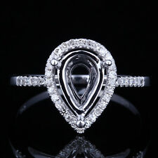New Solid 14K White Gold 10x6mm Pear Setting  Engagement Semi-mount Diamond Ring