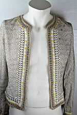 Elie Tahari White Cotton Silk Colorful Embroidered Fitted Jacket Sz S Small $445