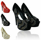 LADIES WOMENS HIGH STILETTO HEEL PEEP TOE PLATFORM PARTY PROM COURT SHOES SIZE