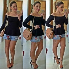 Sexy Women Vest Shirt Long Sleeve Off Shoulder Blouse Casual Tank Top T-Shirt L