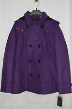 Marvin Richards Women's Double Breasted Tweeds Purple Plum Peacoat - Size L