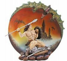 MEDIEVAL WARRIOR Slaying DRAGON 3-D COLLECTOR PLATE -NIB