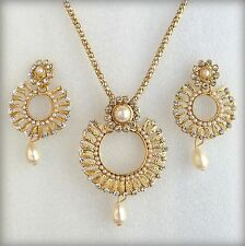 Indian Bollywood Ethnic Gold Plated Pearls Pendant Earrings Jewelry Necklace Set