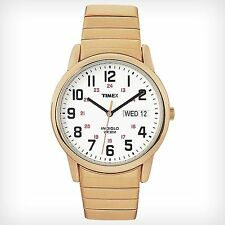 Mens Timex Indiglo Easy Reader Gold Tone Stretch Expansion Day Date Watch T20471