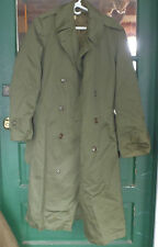Korean War US Army Wool/cotton w  liner Olive Green Trench Coat uniform small