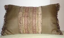 Brown Center Gold Stripes Pillow Fringe Ends Toss Throw Rectangular Cushion Deco