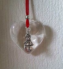 Handmade Hanging glass heart decoration Christmas Gift with Snowman charm bauble