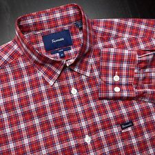 FACONNABLE Club Mens M Red Blue White Plaid Long Sleeve Straight Collar Shirt