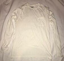 Old Navy White Mens Long Sleeve T Shirt With Pocket Size  Medium 100% Cotton