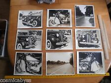 1948 Packard vs Indian Motorcycle lot of 9 photos accident crash 8x10's Indiana