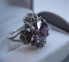 Stunning Solid Silver 925 Marcasite Amethyst Purple CZ Ring Size S.Vintage Style