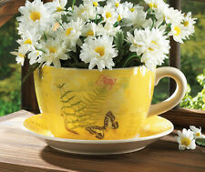 WORLD OF PRODUCTS GARDEN BUTTERFLY TEACUP PLANTER FLOWER POT YELLOW POTTERY