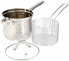 Oster Cookware - 4 Quart Deep Fryer, Basket, Lid - Stainless Steel, Wire Basket,
