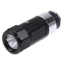 Mini Black LED Flashlight Rechargeable Torch Car Cigarette Lighter Socket