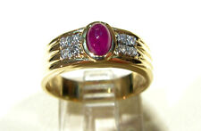 14K NATURAL RUBY CABOCHON & DIAMONDS FLUTED BAND RING SZ6.5 VINTAGE GREAT GIFT !