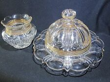 EAPG Westmoreland Glass Wellington  Butter Dish and Sugar Bowl with Gold Trim