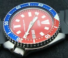 Vintage Seiko divers watch 6309 Auto DAY Date Mod RED DIAL PEPSI BEZEL J63