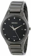 Seiko Men's SNE243 Solar All Black Dress 12 Diamonds Quartz Black Dial Watch