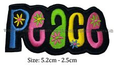 Peace hippy rainbow colour iron sew on patch  flowers embroidered #115