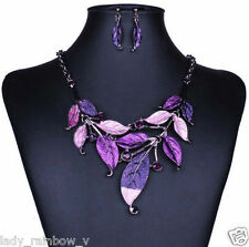 Fashion Pary Retro Enamel Branch Leaf Link Gun Black Metal Necklace Earring 1Set