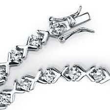 """925 Sterling Silver CZ High Polished """"X"""" XO Tennis Bracelet with Cubic Zirconias"""