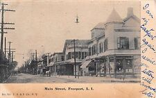 1906 Dawson's Corner Pharmacy Stores Main St. Freeport LI NY postcard Drug Store