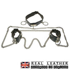 Black New Wristband Chain Handcuff 100% Real Leather Handmade In England
