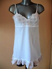 NUISETTE CHANTAL THOMASS COTON  COURTE TAILLE 40 FR IDEAL 38 FR BLANCHE DENTELLE