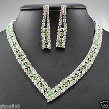 New Design huge Lady Statement crystal chunky chain charm wedding necklace q272