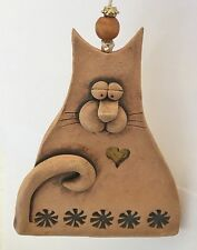 Signed Hand Built Stoneware Folk Art Cat Ornament Stephen Wise Design 4 In. H