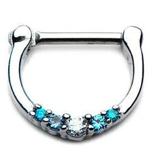 316l CZ gem septum nose ring clicker body jewelry piercing prong ear lip w60 16g