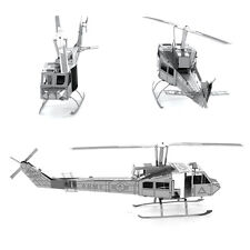 3D Metal Puzzle Huey Helicopter Silver DIY Kit Transport Model Laser Cut