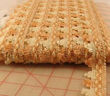 "30 yards vintage 1"" trim from Spain ivory & salmon pink loop fringe upholstery"
