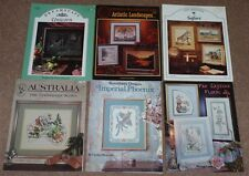 6 x CROSS STITCH CHARTS AUSTRALIA/UNICORN/PHOENIX/FAR EASTERN FLORAL/SAFARI