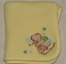 Small Wonders Yellow Thermal Knit Baby Receiving Blanket Best Friends Bunny Bear