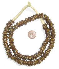 African Brown Mosaic Rondelle Recycled Glass Beads Ghana