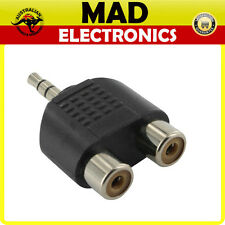 3.5mm STEREO Male to 2 x RCA Female Sockets Adaptor