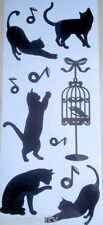 7tlg. Waschmaschinen Aufkleber, Sticker, Tattoo, Katzenmotiv, schwarz, neu