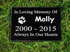 Personalised Natural Granite Pet Dog Cat Memorial Plaque Grave Marker 15 x 10cm