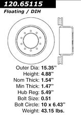 Centric Parts 120.65115 Rear Premium Brake Rotor