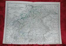Antica Carta Geografica Regni di Sassonia e Baviera 1860 Stabilimento Civelli