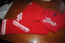 girls 6/8 VALENTINE'S DAY outfit Red jogging suit pom pom balls & GAP Love tee
