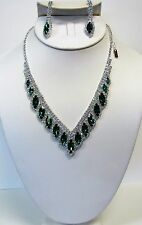 Silver Plated Green Rhinestone Crystal Necklace Set # 16318 Bridal Wedding