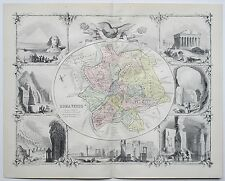 S. P. Q. R. ROMA VETUS OLD ROME Ancient Map Circa 1885