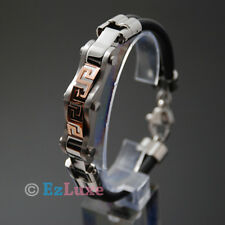 Personal Engraving Mens 2-tone Stainless Steel Black Rubber Bracelet cable ID