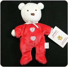 NWT~Carters~Baby GIRL~Plush Teddy Bear Toy+rattle~Polar White+Red~Valentines Day