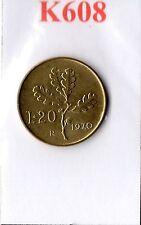 K608 Moneta Coin ITALIA Repubblica Italiana 20 Lire 1970 Ramo di Quercia